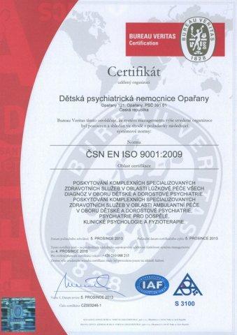DPN  Opařany  získala Certifikát  kvality ISO 9001